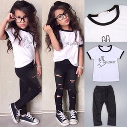 Barato Primavera Bebê Verão-2017 Fashion Toddler Kids Baby Girls Vestuário Verão Spring Outfits Clothes WhiteT-shirt + Ripped Pants 2PCS Set 2-7 Years