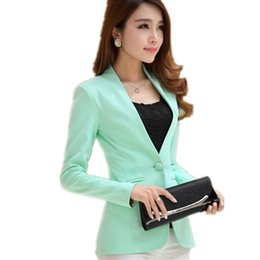 candy button suit 2019 - Women blazers and Jackets 2017 Spring Autumn long-sleeve Slim Fit Blazer Women shrug suit Jackets candy color office Sui