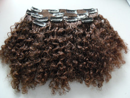 hair piece clips extension NZ - brazilian human virgin short hair extensions 9 pieces with 18 clips clip in hair kinky curly hair style dark brown natural black color
