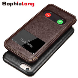$enCountryForm.capitalKeyWord NZ - Phone Cases for iPhone 6 S Case Genuine Leather Shell for iPhone 6 6S Plus Cover Flip Phone Bags 6S Case Call Display