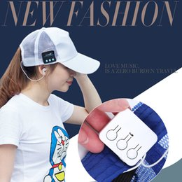Cell Phones Wireless Speaker NZ - Wireless Bluetooth Headphone Sports Baseball Beanie Hat Canvas Sun Cap Music Headset with Mic Speaker for Smart Phone with Retail Box