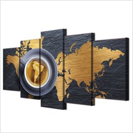 world map prints canvas UK - 5 Pcs Set Framed HD Printed Coffee World Map Modern Home Wall Decor Poster Canvas Art Painting Wall Pictures