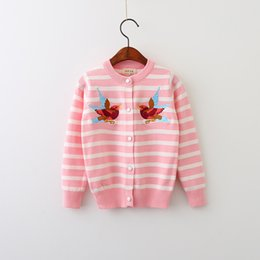Boutons De Vêtements Noirs Pas Cher-Everweekend Girls Bird brodé à rayures Cardigan Sweet Child Pink et noir chandail couleur Cute Kids Button Fall Clothing