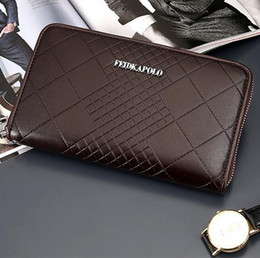 Brown Plaid Wallet NZ - man brand package business embossed wallet high-grade embossed ling plaid man long wallet leather fashion business card package