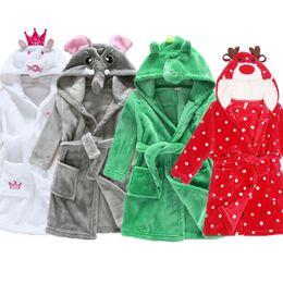 Kids Cute Animal Hoodie Fleece Robes 2017 Winter Children Cartoon Coral Bathrobe  Unisex Pajamas Sleepwear Flannel Nightgown 83b07ef07