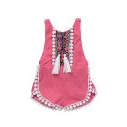 $enCountryForm.capitalKeyWord UK - 2017 Hot Baby Girl Retro Romper Red Sleeveless Cotton Jumpsuit Fashion Children Outfits White Tassels Kids Clothes Newborn Girls Mikrdoo Set