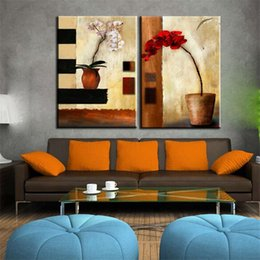 painting pots NZ - Potted Flowers,2 Panel Pure Hand-painted Modern Abstract Art Oil Painting,Home Wall Decor on High Quality Canvas in custom sizes
