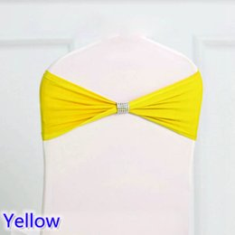$enCountryForm.capitalKeyWord NZ - Yellow colour tie bands Lycra sash chair sash Bow tie ribbon For Wedding Party Banquet Decoration for sale with shiny belt