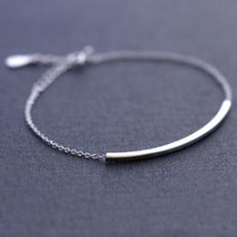 $enCountryForm.capitalKeyWord Canada - 5pcs lot New Hot Sale Pure 925 Sterling Silver Simple Bar Bracelet Real Silver Chain for Women pulsera de plata