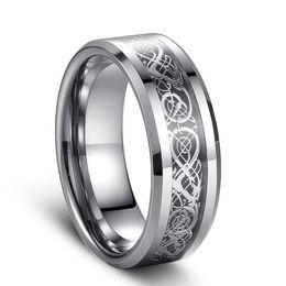 7998c0260957 Siver Dragon embutido anillo de carburo de tungsteno estilo punky joyería  de moda cultura tradicional anillo del dragón de 8 mm de ancho ventas  calientes ...