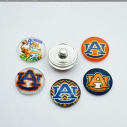 $enCountryForm.capitalKeyWord NZ - 20pcs NCAA Auburn Sports Team Glass Button Snaps Jewelry Fit For 18MM Good Quality Charm Bracelet