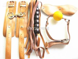 Discount spanking bondage games - BDSM Bondage Restraints Gear Kit Handcuffs Mouth Gag Eye Mask Spanking Whip Geniune Leather Adult SM Sex Games Play for