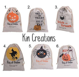 Personalized Drawstring Bags Canada - 50pcs 2017 New Halloween Sacks Bag Canvas Personalized Children Candy Gifts Bag Pumpkin Spider treat or trick Drawstring Bags