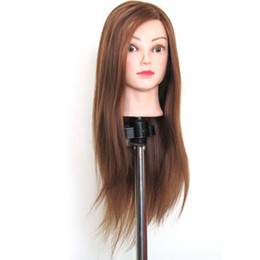 great wigs Canada - Brown Great quality Synthetic Hair Hairdressing Training Head Mannequin 22'' Mannequin Head Can Be Curly With Makeup