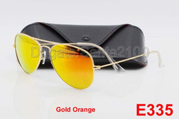 Caisses Pour Lunettes De Soleil Pas Cher-1pcs High Quality Hommes Femmes Designer Pilot Lunettes de soleil Lunettes de soleil Gold Flash Orange Mirror Verre Lentilles 58mm 62mm Protection UV Casiers Box