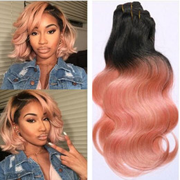 Wholesale brazilian gold resale online - New Arrival Pink Hair Ombre Human Hair Brazilian Body Wave Bundle T1B Pink Rose Gold Colored Brazilian Hair Body Wave