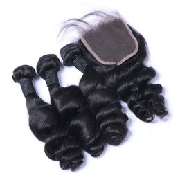 Discount bleached natural hair - Brazilian Loose Wave Human Remy Hair Weaves With 4x4 Lace Closure Bleached Knots 100g pc Natural Color Double Wefts 4pcs