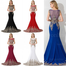 Image Satin Sexy Pas Cher-2017 Royal Blue Black Mermaid Prom Robes En Stock Real Pictures Broderie Beaded longues robes de soirée Robes formelles Occasion CPS235