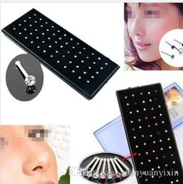 Indian Nose Piercing Australia - Hot Selling Boby Jewelry Indian style 60pcs set Crystal Rhinestone Nose Ring Bone Stud Surgical Steel Body Piercing Jewelry 10 sets lot