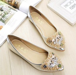 c2df667df484a2 Women Crystal Ballet Flats Size 34-43 2017 Spring Solid Gold Bling Cloth  Pointed Toe Slip-On Flat Woman loafers drive shoes AX12