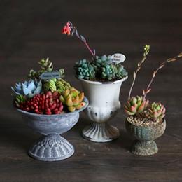 1pc Metal flower pots planters European style vintage finish Relief Iron pots Succulent pots home decoration flower vases HWD48 on Sale