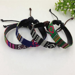 Folk Art Christmas Australia - MIC 48pcs New fashion Folk-Custom cloth art Bracelet men and women Adjustable bracelet B-19