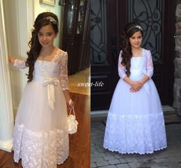 Blue princess dress juniors online shopping - Stunning Long Sleeves Flower Girls Dresses For Weddings Appliques Lace Tulle Floor Length First Communion Dresses Junior Bridesmaid Dresses