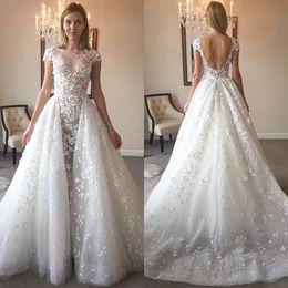 Zuhair Murad Mermaid Wedding Dresses NZ - 2017 Zuhair Murad Backless Mermaid Wedding Dresses With Detachable Train Lace Bridal Gowns Beaded Vintage Plus Size Wedding Dress