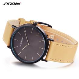 3aaadd39a417 SINOBI Nueva Moda Negro Mujeres Relojes de Pulsera de Cuero Reloj de Lujo  Marca Simple Ladies Geneva Relojes de Cuarzo relogio feminino