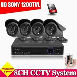 Discount hvr dvr Home HD 8CH CCTV DVR NVR HVR System CCTV DVR Kit support onvif HDMI 1080P output Black SONY CCD 1200TVL Security Camera