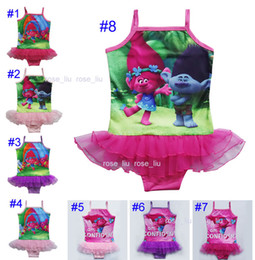 children swimming suits wholesale 2019 - 8 Style Girls Trolls 3~9years One-Pieces grenadine Lace Swimsuit children cartoon trolls sling baby swimming suit B chea
