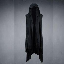 006e528359 Fashion men cotton spandex hip hop vest punk style rock black cloak cape  mens nightclub personality long vests sleeveless shirt