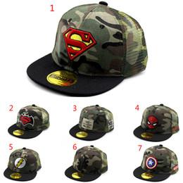 a70db522241 7 colors Kids Camouflage hat gift sunhat Summer Superman Batman Spiderman  Hip Hop Street Caps Kids Fashion Baseball Caps Hats