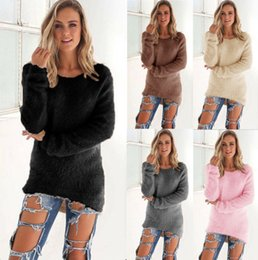 Barato Camisolas De Natal Femininas Por Atacado-Atacado-2016 Outono Inverno Natal Sweater Mulheres Kintted Pullover Solid Color Long Sleeve Mulheres Sweaters E Pullovers Pull Femme