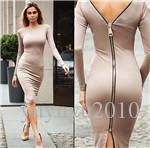 Robe Bleu Serré Longtemps Pas Cher-Bodycon Gaine Dress Long Sleeve Femme Vêtements Dos Full Zipper Robe Sexy Femme Crayon Robes Serrées Vin Noir Rouge Kaki