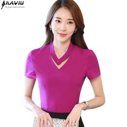 32942e0a8bbaf New summer elegant women shirt OL 2017 fashion formal slim V-neck short sleeve  chiffon blouse office ladies plus size tops