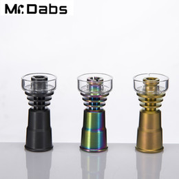 Glasses Female Titanium Australia - Newest 14mm&19mm female jointed ti nail with quartz bowl titanium nail with nitriding treatment color for Glass Water Pipe Bong