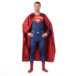 Superman Lycra Spandex Pas Cher-Halloween Cosplay Sexy Superman Costumes Red Blue Lycra Spandex Complet Body Superhero Costumes Zentai (y compris Cloak)