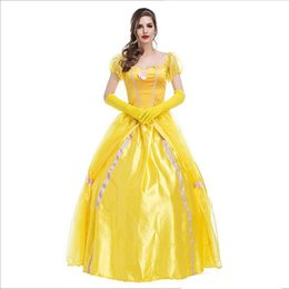 Barato Beleza Besta Chegada-New Arrival Luxury Europe To Restore Ancient Ways Court Dress Beleza e o animal Amarelo Sexy Cosplay Halloween Theme Party Costumes