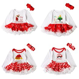 Baby Romper Girls Dresses Canada - Baby girls Christmas romper dress 2ps set red bow headband+Xmas printing embroidery dress Infants first christmas gifts cute outfits