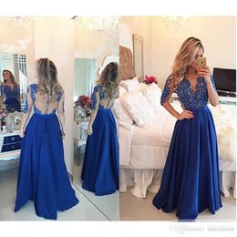 Evento De Vestir Baratos-2017 Royal Blue Chiffon Formal Prom Vestidos Mangas Largas Sheer Floorl Largo Más Tamaño Barato Evento Árabe Evening Wears Vestidos De Novia