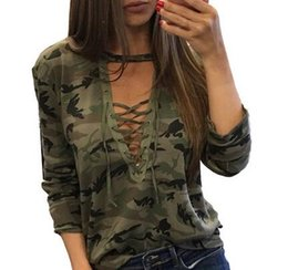 $enCountryForm.capitalKeyWord Australia - Wholesale free shipping Autumn Lace Bandage Camouflage T-shirts For Women Sexy Long Sleeves Clothes Hollow Out Army Green Shirts Top