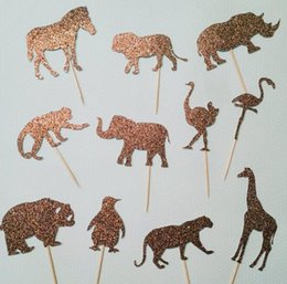 Engagement Party Cupcake Toppers Canada - 30pcs custom Glitter Safari Animals Cupcake Toppers birthday woodland Wedding Bridal Shower Engagement Party food picks cake decorations