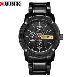 $enCountryForm.capitalKeyWord NZ - Curren Luxury Sport Quartz Men Wrist Watch Analog Round Wristwatch With Plated Metal Black Band Hours Date Relogio Masculino 8069