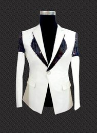 Vente En Gros Noir Homme Pas Cher-Vente en gros- Hommes White Party Clothing 2015 New Arrival Mens Sequin Blazer Noir Blanc Wedding Party Club Robe de soirée Jacket Plus Size Blazer