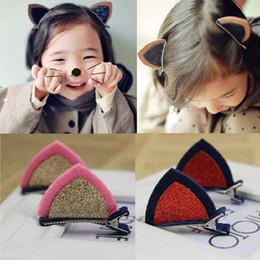 Korea Child Hair Canada - Children headdress hair accessories Korea Version Girls cat ears hairpin top folder baby issuing sub 5 color options