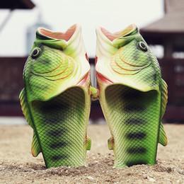 Baby Slipper Heels NZ - 2017 Summer New Pattern Creative Simulation Fish Slippers Open Toe Flat Couple Models Sandy Beach Shoes baby women men size 31-44