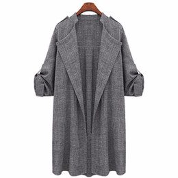 Manteaux De Lin Femme Pas Cher-2017 Outlet Femmes Slim Thin Trench Outerwear Casual Lapel Windbreaker Cape Coat Européen Linge de style Gris Long Cardigan
