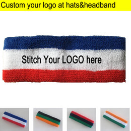 wholesale houndstooth accessories NZ - Adult Towel Headbands Sports Sweat Head wears terry knitted Headscarf Custom LOGO Apparel Accessories Hood sweatband from 50pcs