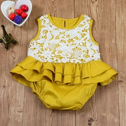 Ruffle Wholesale Pas Cher-Ins 2017 Babies Lace Cotton Rompers Kids Girl Princess Ruffles Combinaisons Bebe Summer wholesale Clothing